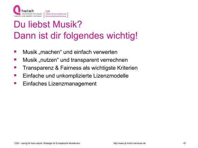 """http://www.ijk.hmtm-hannover.de Du liebst Musik? Dann ist dir folgendes wichtig!  Musik """"machen"""" und einfach verwerten  ..."""