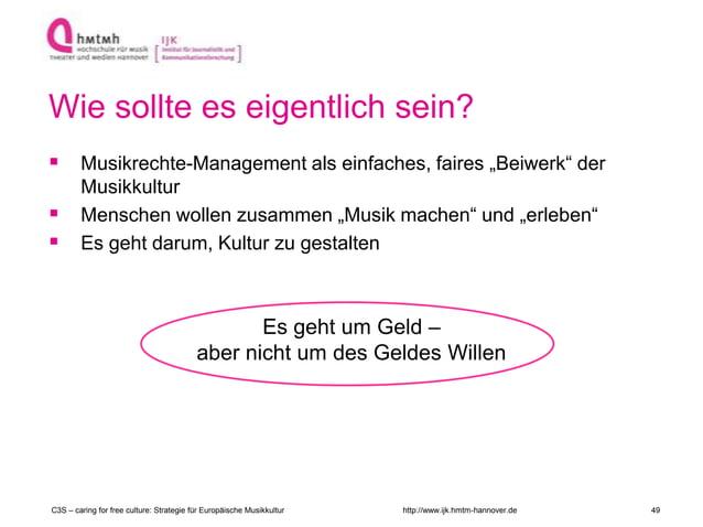 """http://www.ijk.hmtm-hannover.de Wie sollte es eigentlich sein?  Musikrechte-Management als einfaches, faires """"Beiwerk"""" de..."""