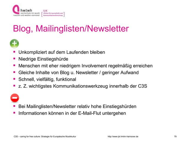 http://www.ijk.hmtm-hannover.de Blog, Mailinglisten/Newsletter  Unkompliziert auf dem Laufenden bleiben  Niedrige Einsti...