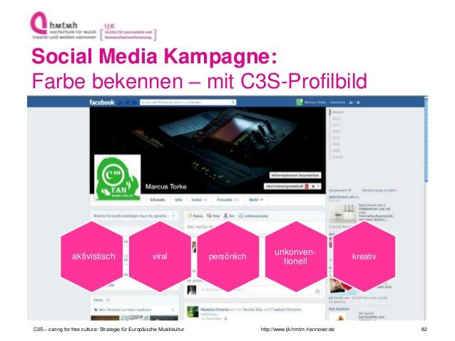 http://www.ijk.hmtm-hannover.de Social Media Kampagne: Farbe bekennen – mit C3S-Profilbild C3S – caring for free culture: ...