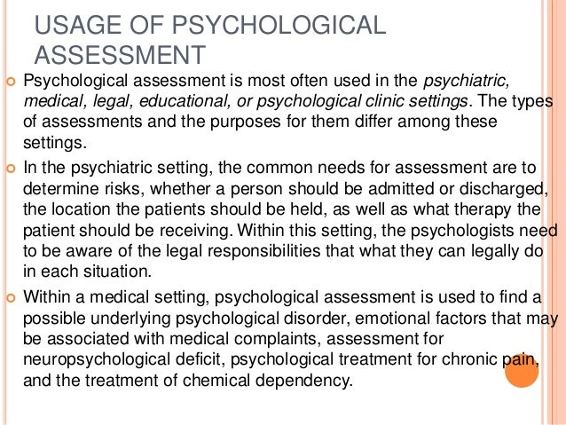 psychological assessment standardization, evaluation etc