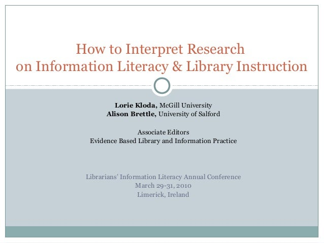 Lorie Kloda, McGill University Alison Brettle, University of Salford Associate Editors Evidence Based Library and Informat...