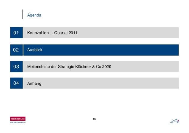 10 Agenda 01 Kennzahlen 1. Quartal 2011 02 Ausblick 03 Meilensteine der Strategie Klöckner & Co 2020 04 Anhang