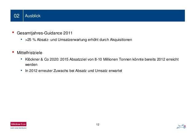 12 02 Ausblick • Gesamtjahres-Guidance 2011 • >25 % Absatz- und Umsatzerwartung erhöht durch Akquisitionen • Mittelfristzi...