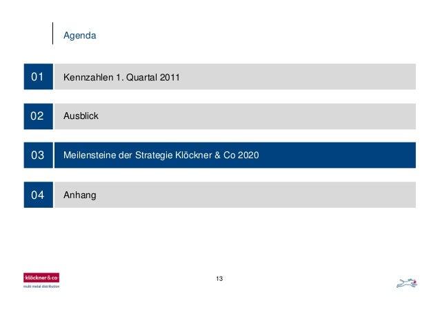 13 Agenda 03 01 Kennzahlen 1. Quartal 2011 02 Ausblick Meilensteine der Strategie Klöckner & Co 2020 04 Anhang