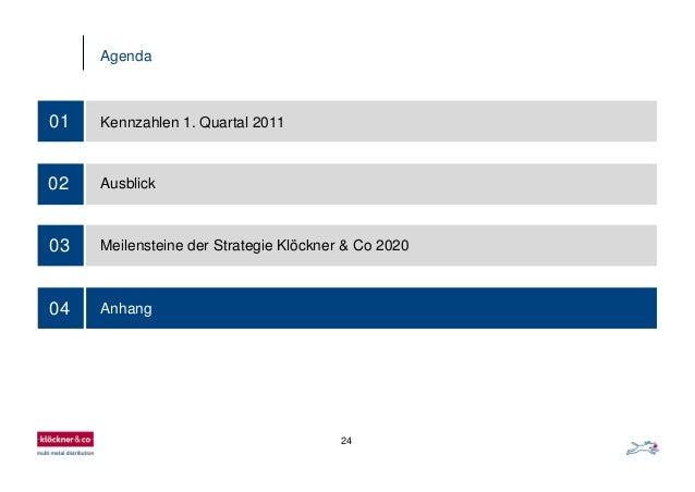 24 Agenda 03 01 Kennzahlen 1. Quartal 2011 02 Ausblick Meilensteine der Strategie Klöckner & Co 2020 04 Anhang