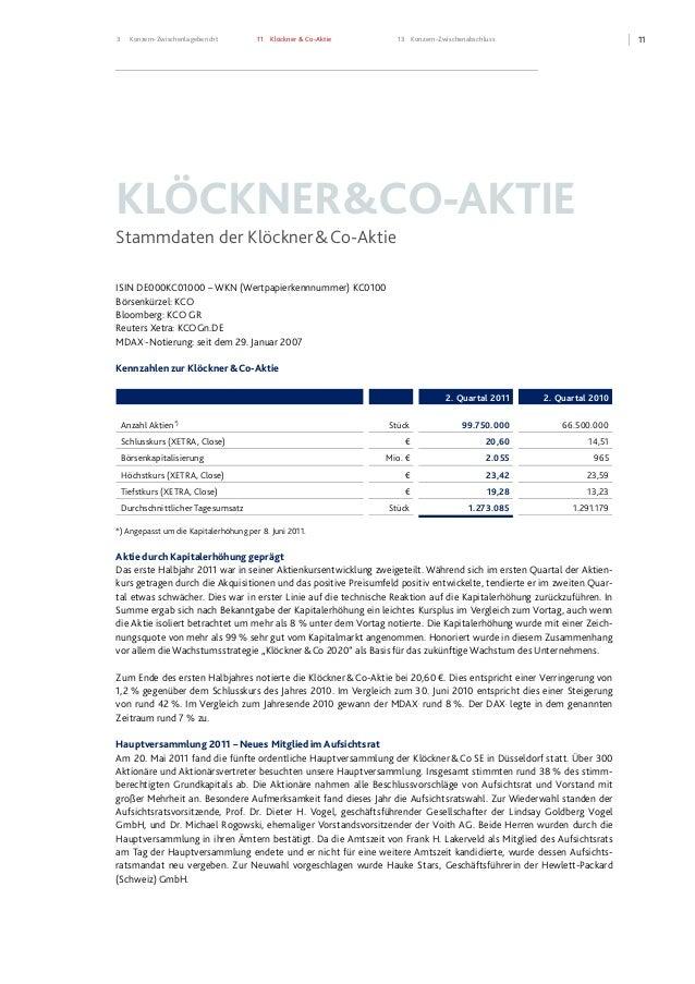 113 Konzern-Zwischenlagebericht 11 Klöckner & Co-Aktie 13 Konzern-Zwischenabschluss KLÖCKNER&CO-AKTIE Stammdaten der Klöck...