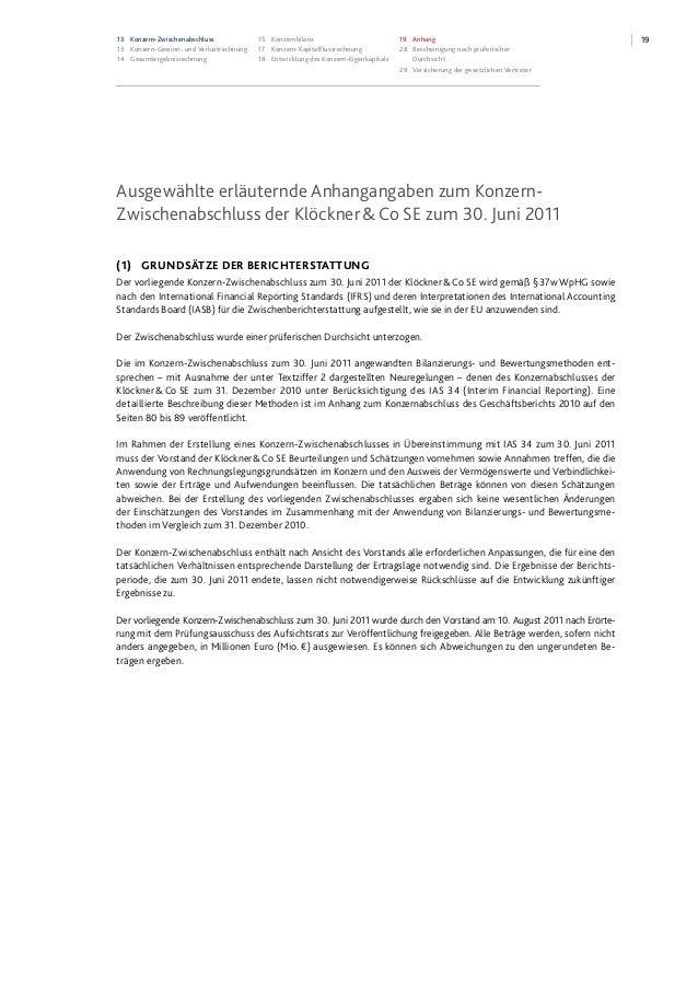 1913 Konzern-Zwischenabschluss 13 Konzern-Gewinn- und Verlustrechnung 14 Gesamtergebnisrechnung 15 Konzernbilanz 17 Konzer...