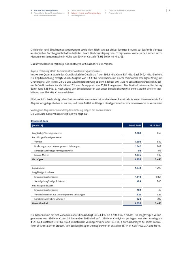 73 Konzern-Zwischenlagebericht 3 Wesentliche Kennzahlen des Konzerns für die ersten sechs Monate 4 Wirtschaftliches Umfeld...