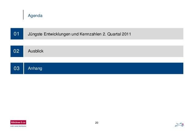 20 Agenda 03 01 Jüngste Entwicklungen und Kennzahlen 2. Quartal 2011 02 Ausblick Anhang