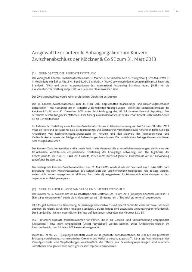 Klöckner & Co SE Konzern-Zwischenabschluss Q1 2013 25 Diese Änderungen hatten folgende Auswirkungen auf den Konzernabschlu...
