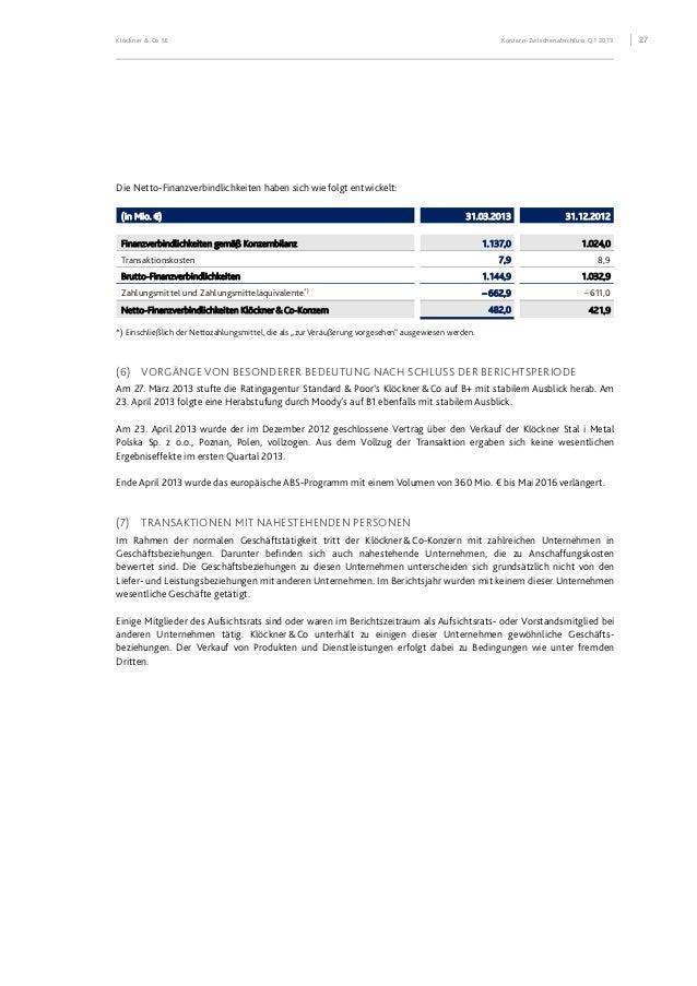 Klöckner & Co SE Konzern-Zwischenabschluss Q1 2013 28 (8) SEGMENTBERICHTERSTATTUNG Europa Americas Zentrale/ Konsolidierun...