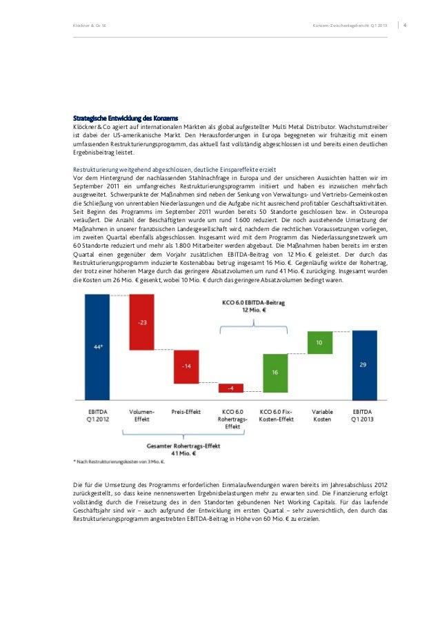 Klöckner & Co SE Konzern-Zwischenlagebericht Q1 2013 5 Transformation des Geschäftsmodells Seit 2007 haben wir unser Gesch...