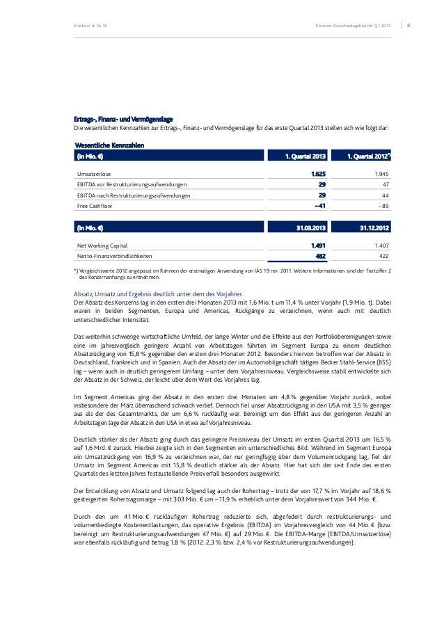 Klöckner & Co SE Konzern-Zwischenlagebericht Q1 2013 9 EBITDA (vor Restrukturierungsaufwendungen im Vorjahr) nach Segmente...