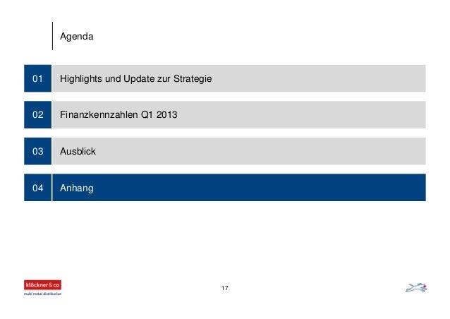 Highlights und Update zur Strategie01 Finanzkennzahlen Q1 2013 Ausblick Anhang 02 03 04 Agenda 17