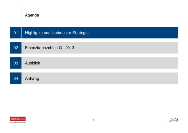 Highlights und Update zur Strategie01 Finanzkennzahlen Q1 2013 Ausblick Anhang 02 03 04 Agenda 3