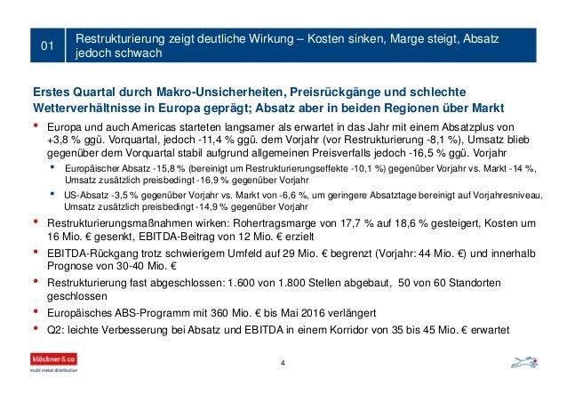 Restrukturierung zeigt deutliche Wirkung – Kosten sinken, Marge steigt, Absatz jedoch schwach 01 4 Erstes Quartal durch Ma...
