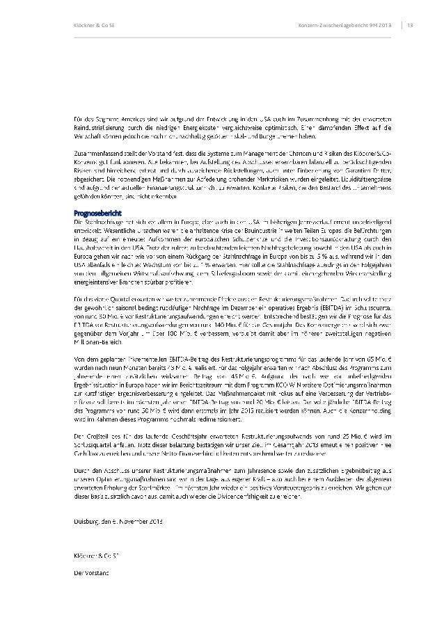 Klöckner & Co SE  Prognosebericht  Konzern-Zwischenlagebericht 9M 2013  13