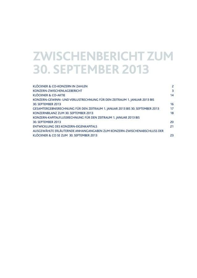 KLÖCKNER & CO-KONZERN IN ZAHLEN KONZERN-ZWISCHENLAGEBERICHT KLÖCKNER & CO-AKTIE KONZERN-GEWINN- UND VERLUSTRECHNUNG FÜR DE...