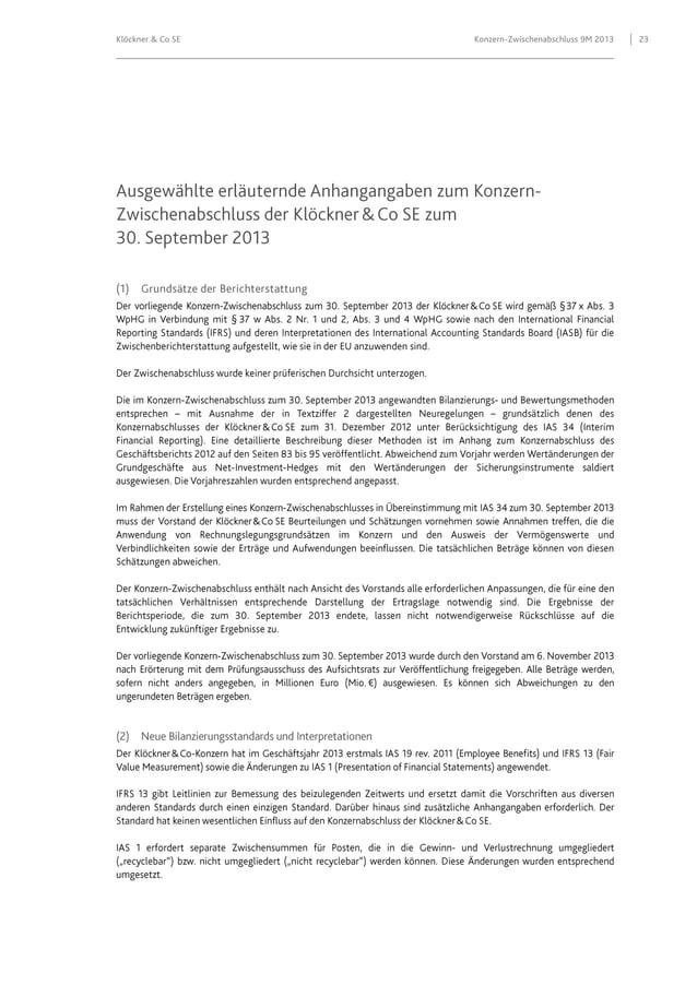 Klöckner & Co SE  Konzern-Zwischenabschluss 9M 2013  23