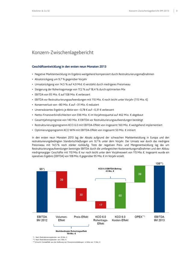 Klöckner & Co SE  Geschäftsentwicklung in den ersten neun Monaten 2013 • • • • • • • • • • • •  Konzern-Zwischenlageberich...