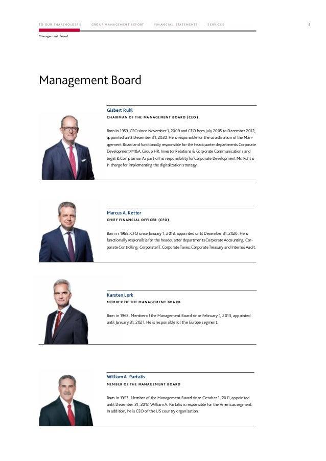 Management Board Gisbert Rühl CHAIRMAN OF THE MANAGEMENT BOARD (CEO) Marcus A. Ketter CHIEF FINANCIAL OFFICER (CFO) Karste...