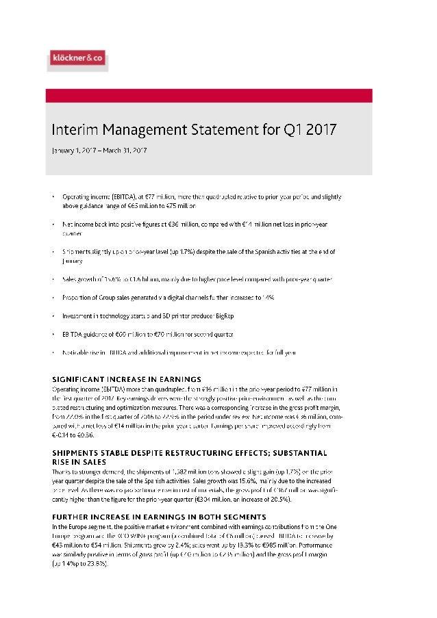 Klöckner & Co SE - Interim Management Statement for Q1 2017 Slide 1