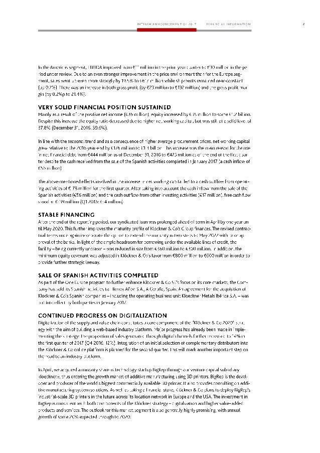 Klöckner & Co SE - Interim Management Statement for Q1 2017 Slide 2
