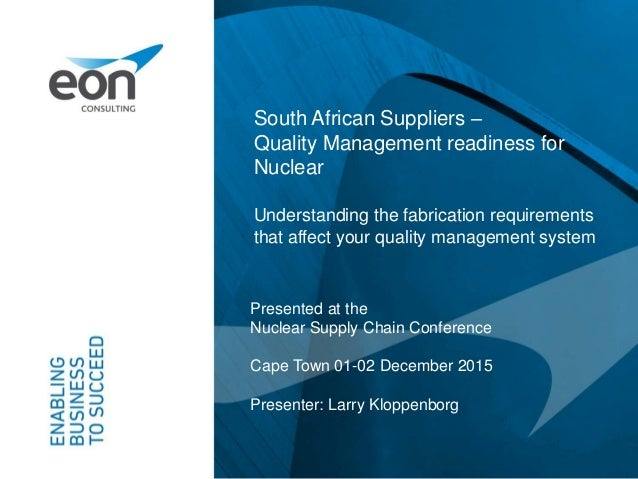 South African Suppliers –Quality Management readiness for