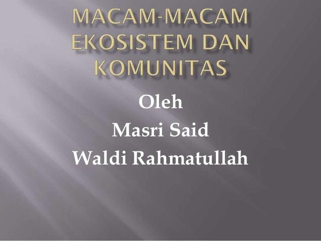 Oleh   Masri SaidWaldi Rahmatullah