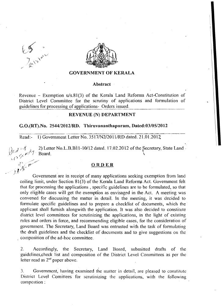 GOVERNMENT O F KERALA                                               Abstract          Revenue - Exemption uls.81(3) of the...