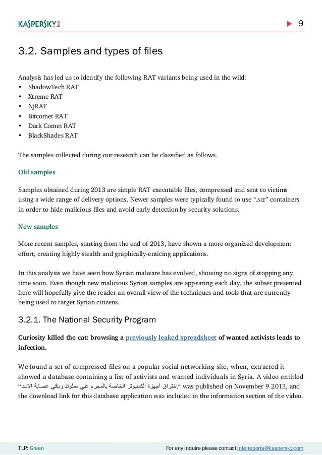 9 TLP: Green For any inquire please contact intelreports@kaspersky.com 3.2.Samples and types of files Analysis has led us...