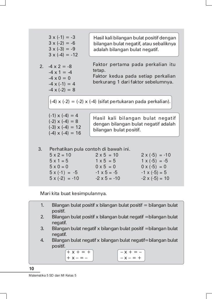 Contoh Soal Bilangan Bulat Negatif Kelas 6