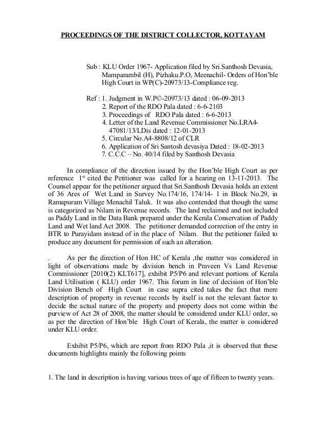 PROCEEDINGS OF THE DISTRICT COLLECTOR, KOTTAYAM Sub : KLU Order 1967- Application filed by Sri.Santhosh Devasia, Mamparamb...