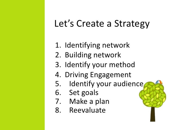 Let's Create a Strategy1.   Identifying network2.   Building network3.   Identify your method4.   Driving Engagement5.    ...