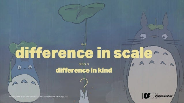 difference in scalealso a differenceinkind ?My Neighbor Totoro fan art created by user cyd84 on minitokyo.net is a