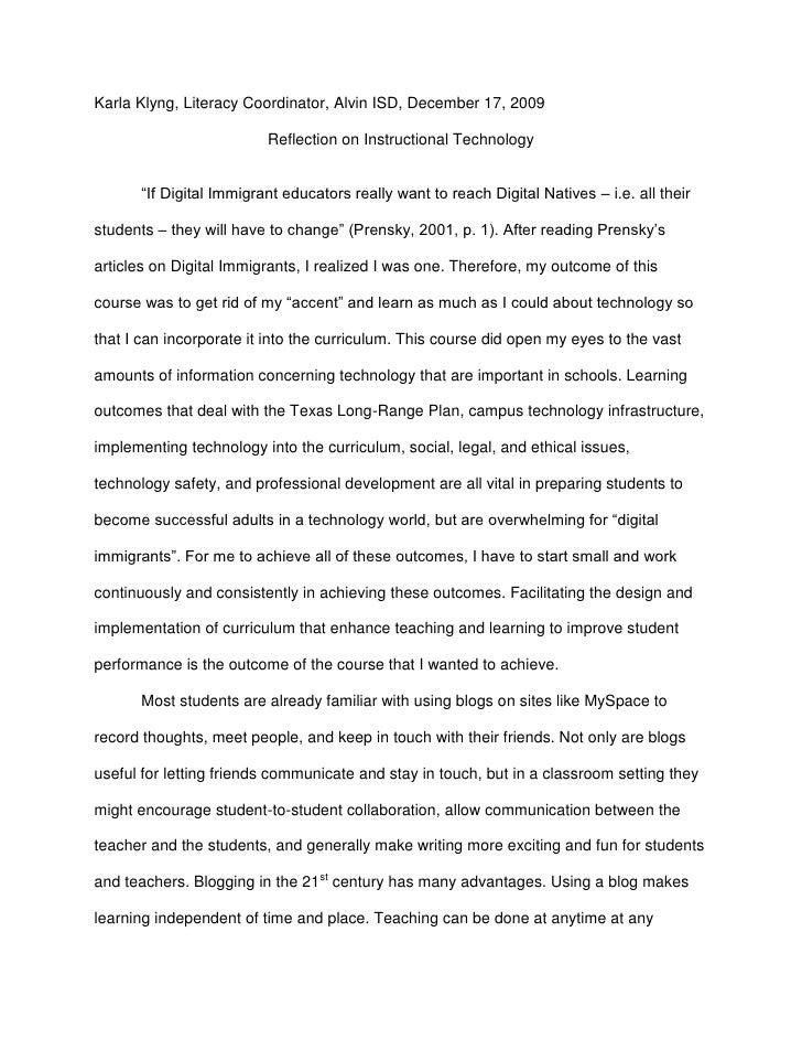 "Karla Klyng, Literacy Coordinator, Alvin ISD, December 17, 2009<br />Reflection on Instructional Technology<br />""If Digit..."