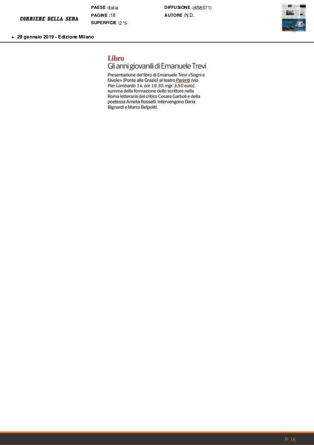 Rassegna stampa Teatro Franco Parenti del 29 gennaio 2019