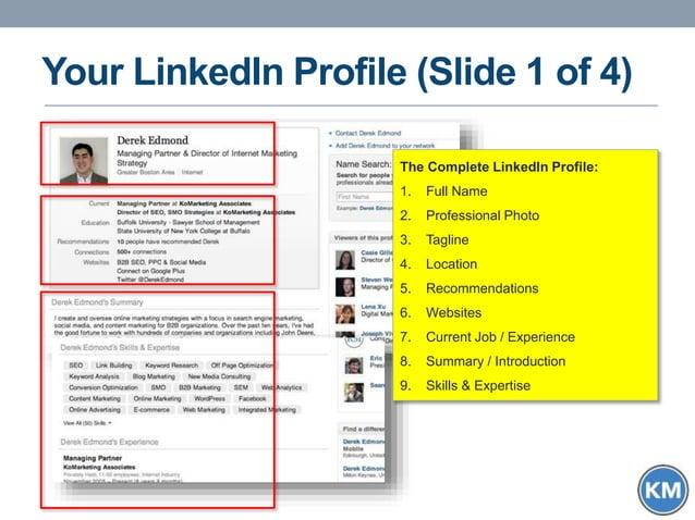 Your LinkedIn Profile (Slide 1 of 4) The Complete LinkedIn Profile: 1. Full Name 2. Professional Photo 3. Tagline 4. Locat...