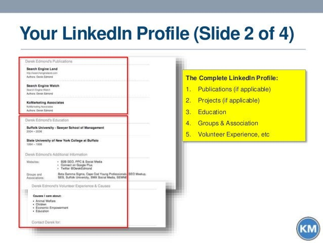 Your LinkedIn Profile (Slide 2 of 4) The Complete LinkedIn Profile: 1. Publications (if applicable) 2. Projects (if applic...