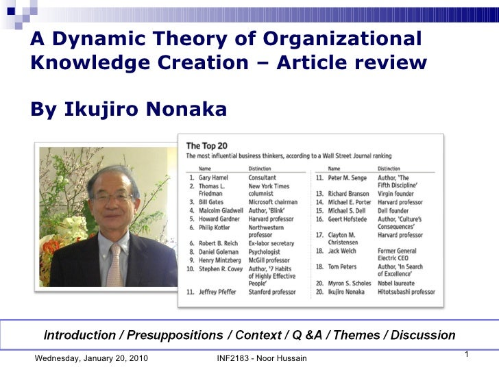A Dynamic Theory of Organizational Knowledge Creation – Article review By Ikujiro Nonaka Wednesday, January 20, 2010 INF21...