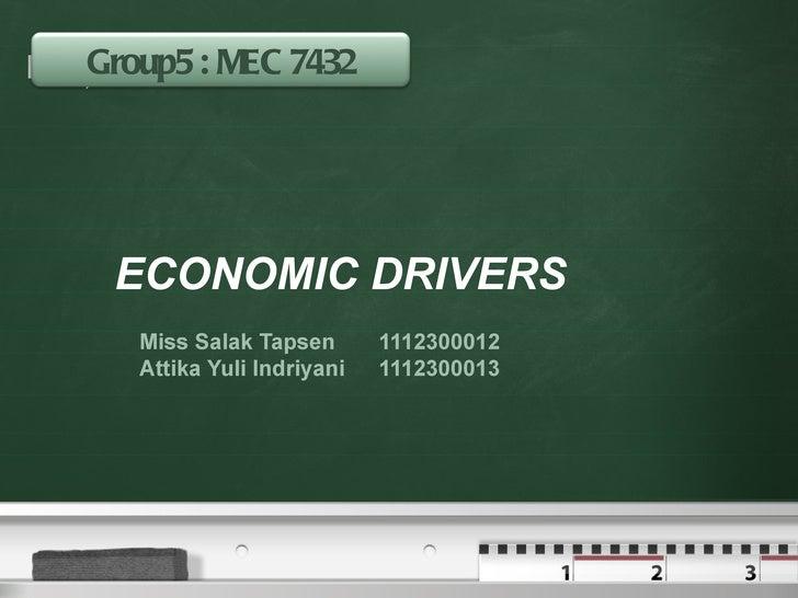 Group5 : MEC 7432Your logo            ECONOMIC DRIVERS            Miss Salak Tapsen       1112300012            Attika Yul...