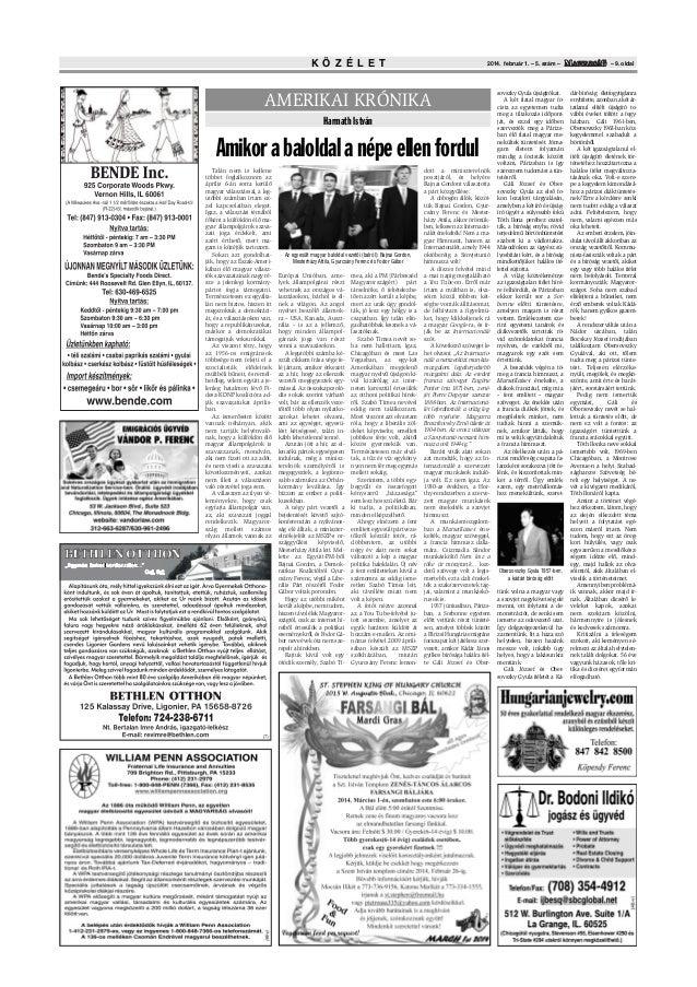 K Ö Z É L E T  2014. február 1. – 5. szám –  AMERIKAI KRÓNIKA Harmath István  Amikor a baloldal a népe ellen fordul Talán ...
