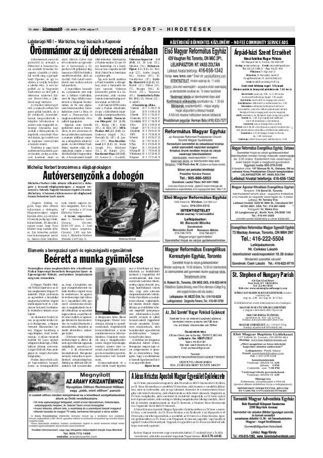 S P O R T – H I R D E T É S E K10. oldal – – 20. szám – 2014. május 17. Árpád-házi Szent Erzsébet Római Katolikus Magyar P...