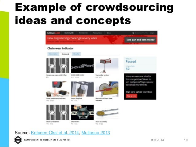 Example of crowdsourcing ideas and concepts  8.9.2014 10  Source: Ketonen-Oksi et al. 2014; Multasuo 2013