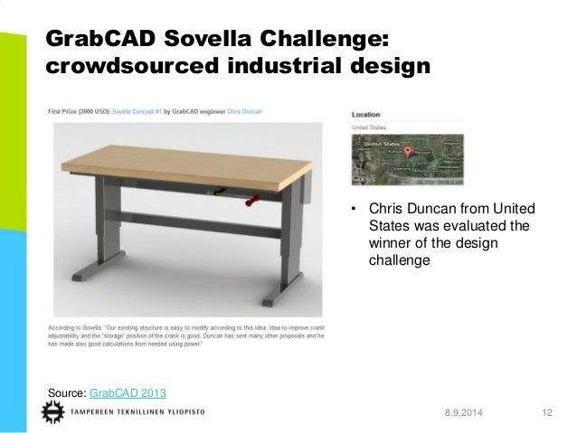 GrabCAD SovellaChallenge: crowdsourced industrial design  8.9.2014 12  Source: GrabCAD 2013  •Chris Duncan from United Sta...
