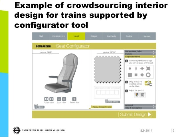 8.9.2014 15  Example of crowdsourcing interior design for trains supported by configurator tool