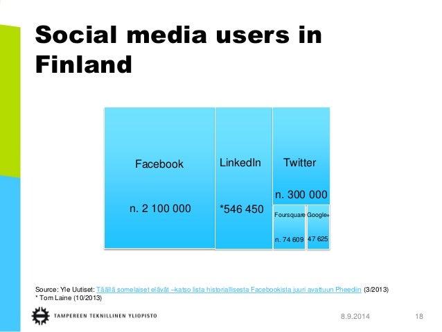 Social media users in Finland  8.9.2014 18  n. 1 700 000  451 000  *546 450  n. 74 609  47 625  n. 300 000  n. 2 100 000  ...