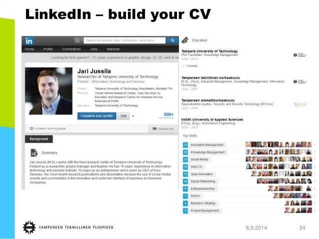 LinkedIn –build your CV  8.9.2014 24