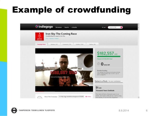 8.9.2014 6  Example of crowdfunding